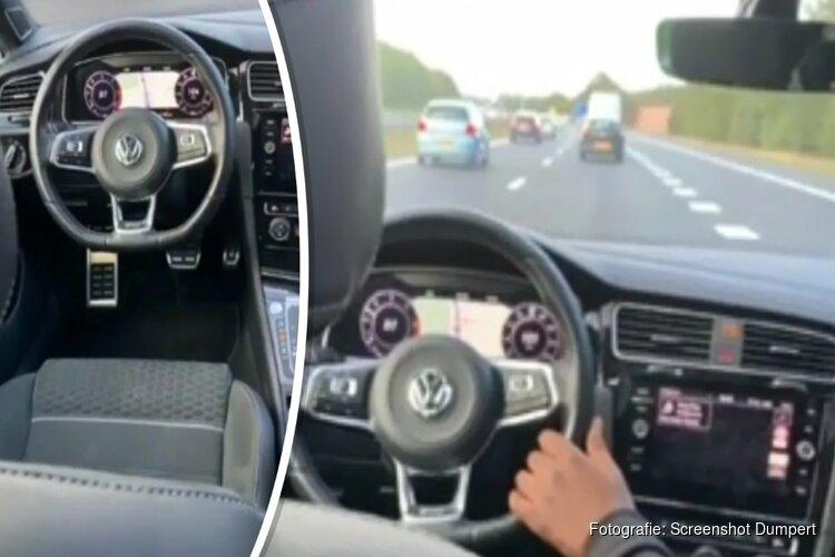 Mafkezen rijden zonder bestuurder met auto over snelweg bij Eemnes